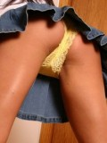 Brooke wearking a super short jean skirt & pink panties!